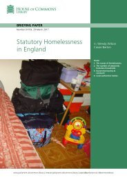 Statutory Homelessness in England