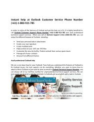 Outlook Customer Support Number (+61) 1800-921-785 | http://www.customer-helpnumber.com/outlook-support.html