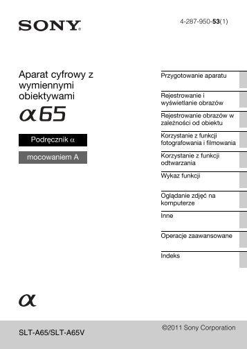 Sony SLT-A65VL - SLT-A65VL Consignes d'utilisation Polonais