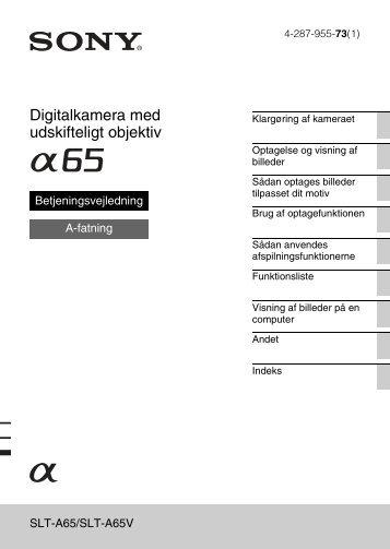 Sony SLT-A65VL - SLT-A65VL Consignes d'utilisation Danois