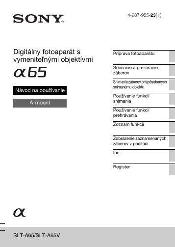 Sony SLT-A65VL - SLT-A65VL Consignes d'utilisation Slovaque