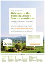 Welcome to the Farming Advice Service newsletter
