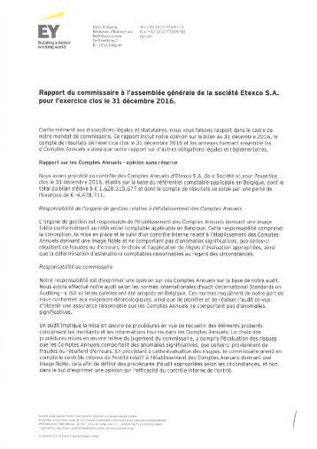 Etexco Rapport du commissaire 2016
