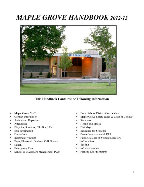 maple grove handbook 2012-13 - Maple Grove Elementary School