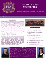 FBA SIXTH FORM NEWSLETTER