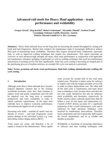 Advanced rail steels for Heavy Haul application - Elektro Thermit ...