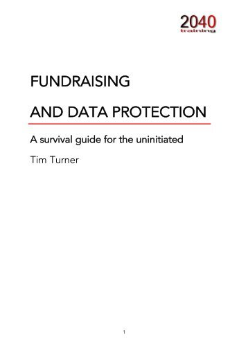 FUNDRAISING AND DATA PROTECTION