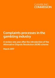 Complaints processes in the gambling industry