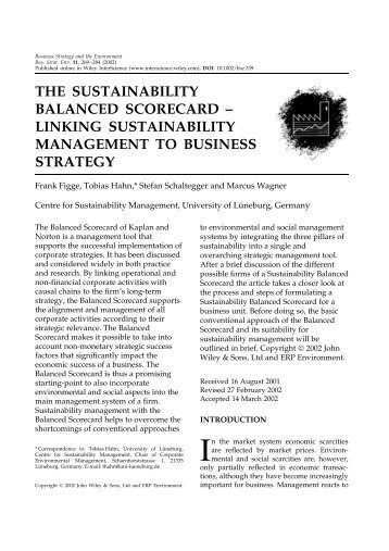 sustainability and the balanced scorecard essay Of a program or organization, the balanced scorecard helps provide a more comprehensive view, which in turn helps an organization act in.