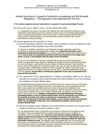 Antisuit Injunctions in support of arbitration proceedings and the ...