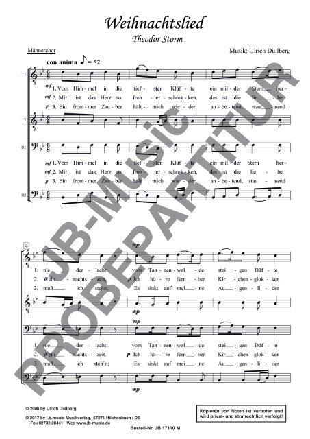 Weihnachtslied  (für Männerchor TTBB)