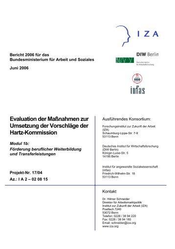 Evaluation der Maßnahmen zur Umsetzung der Vorschläge der - Infas