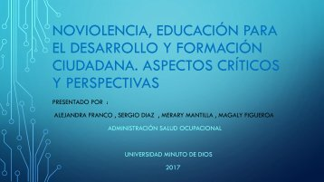 Noviolencia, Educación para el Desarrollo y Formación