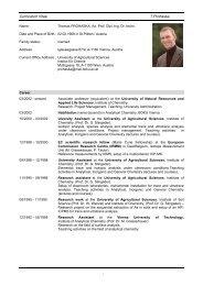 Curriculum Vitae T.Prohaska I - Department für Chemie - Boku