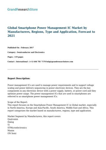 Global Smartphone Power Management IC Market by Manufacturers, Regions, Type and Application, Forecast to 2021