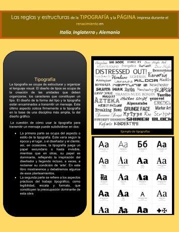 Las reglas y estructuras de la TIPOGRAFÍA y la PÁGINA impresa durante el renacimiento en