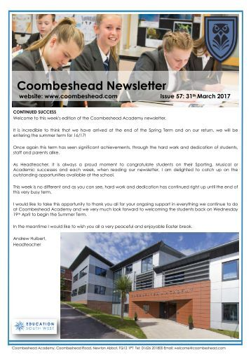 Coombeshead Academy Newsletter - Issue 57