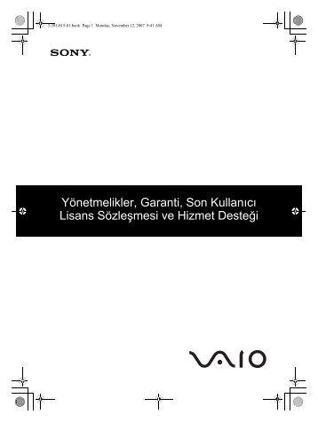 Sony VGN-SZ71WN - VGN-SZ71WN Documents de garantie Turc