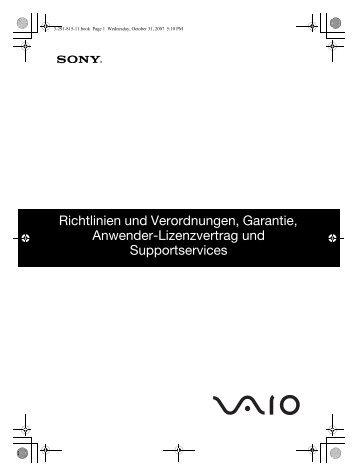Sony VGN-SZ71WN - VGN-SZ71WN Documents de garantie Allemand