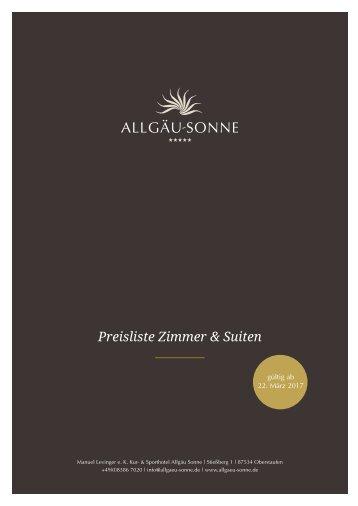 Preisliste Hotel Allgäu Sonne 2017