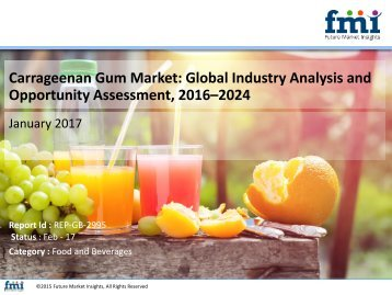 Global Carrageenan Gum Market to Soar at Moderate CAGR of 4.3% during 2016-2024