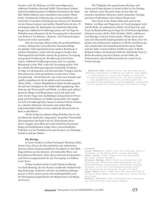 Nahrungsraum Stadt / dérive - Zeitschrift für Stadtforschung, Heft 67 (2/2017)