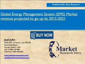 Global Energy Management System (EMS) Market revenue projected to go up by 2015-2021