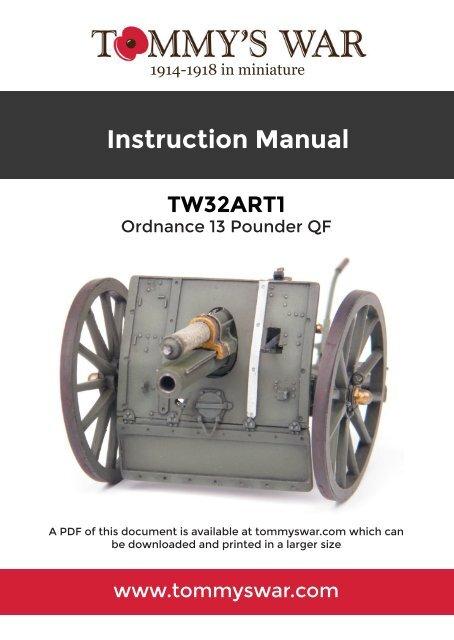 TW32ART1 Ordnance Quick Firing 13 pounder gun assembly manual