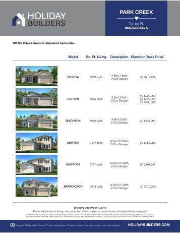 Park Creek Price Sheet