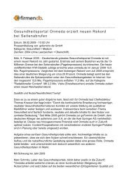Gesundheitsportal Onmeda erzielt neuen Rekord bei ... - Firmendb