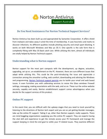 Assistances For Norton Technical Support Services