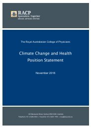 Climate Change and Health Position Statement