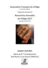 Association Française du Vitiligo Rencontres Annuelles du Vitiligo 2017