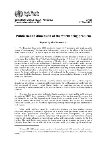 Public health dimension of the world drug problem