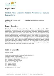 Global Fiber Cement Market Professional Survey Report 2016