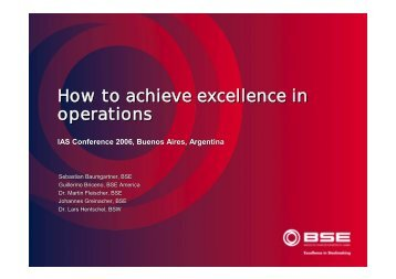 How to achieve excellence in operations - BSE
