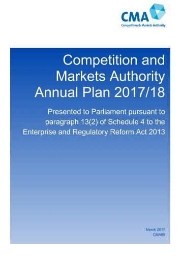 Competition and Markets Authority Annual Plan 2017/18