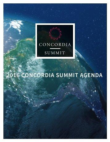 2016 CONCORDIA SUMMIT AGENDA