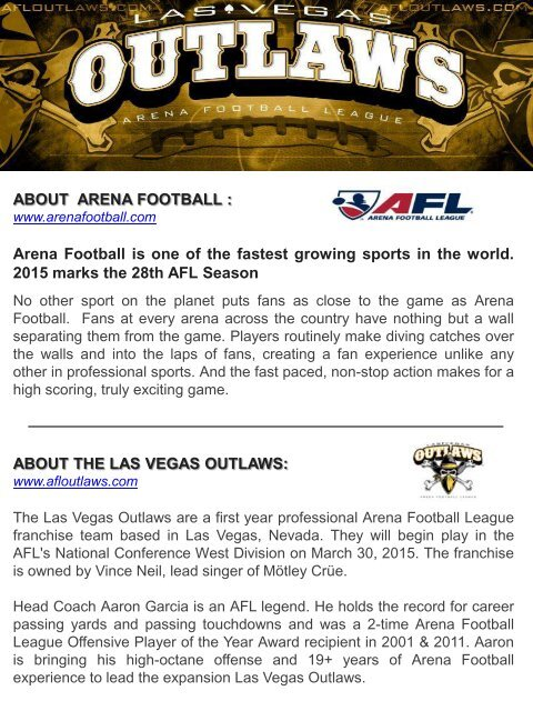 LAS VEGAS OUTLAWS 2015 INAUGURAL SEASON PARTNERSHIP DECK