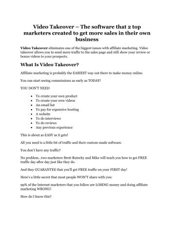 Video Takeover Review and $30000 Bonus - Video Takeover 80% DISCOUNT