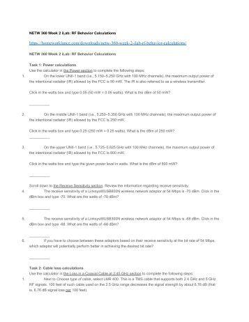 NETW 360 Week 2 iLab RF Behavior Calculations