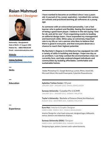 Raian Mahmud - Resume