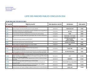LISTE DES MARCHES PUBLICS CONCLUS EN 2016