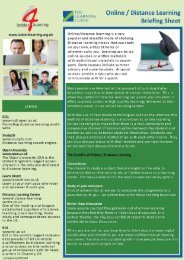 Online/Distance Learning Briefing Sheet - The Learning Curve