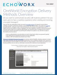 OneWorld Encryption Delivery Methods Overview