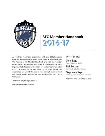 Buffalos FC - Member Handbook - 2016-17 - Final
