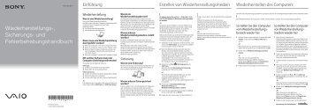 Sony VPCSA3V9E - VPCSA3V9E Guide de dépannage Allemand