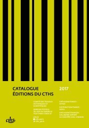 CATALOGUE ÉDITIONS DU CTHS 2017