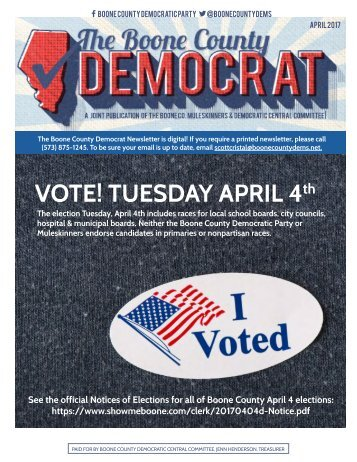 VOTE! TUESDAY APRIL 4