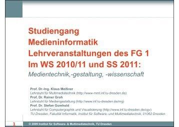 Vorstellung des FG 1: Medientechnik,-gestaltung, -wissenschaft